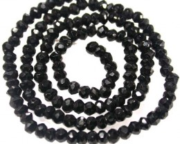 NATURAL BLACK SPINEL BEAD STRAND 36.50 CTS [MX7799]