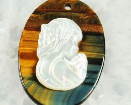 LOVELY M.O.P. CAMEO ON GOLD AND BLUE TIGERS EYE  47.40 CTW