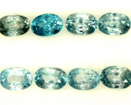 BLUE ZIRCON FACETED STONE (8 PCS) 7 CTS  PG-1405