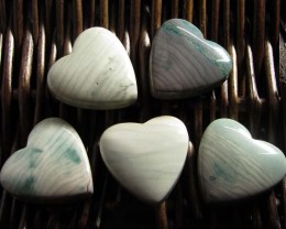 390CTS FIVE WAVE HEART JASPER BEADS  MS 1463