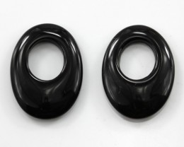 11.46cts Matching Onyx Oval Shape with Hole