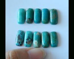 10 PCS Natural Turquoise Gemstone Cabochon -  14.5x6X4 MM