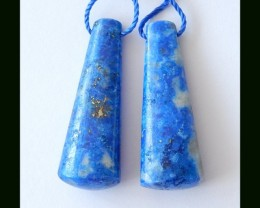 Natural Lapis Lazuli Earring Beads Thick Earrings,47.6 Cts