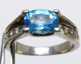Topaz Blue set in silver ring size 6.5  MJA 541