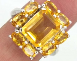 CITRINE  SILVER RING 26.20  CTS 7  SIZE-    RJ-322