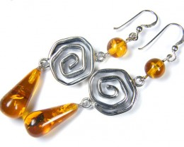 LARGE  BALTIC AMBER SILVER  EARRINGS  86  TCW  MYG 1058