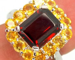 GARNET  SILVER RING  27.45 CTS  SIZE- 8.25   RJ-310