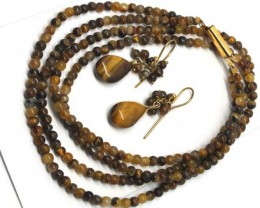TIGER EYE BEAD NECKLACE EARRING   103 CTS  LJ-72