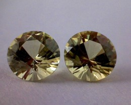 PRECISION CUT Sparkling .95ct Golden Green Brilliant Cut Chrysoberyl Pair