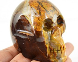 Genuine 910.00 Cts Golden Tiger Eye Carved Skull