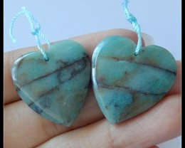 47.9Cts Natural Chrysocolla Heart Shape Earring Beads