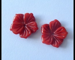 8.5Ct Natural Coral Flower Pair,15X3 mm