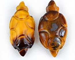 Genuine 52.50 Cts Carved Golden Tiger Eye Tortoise Pair