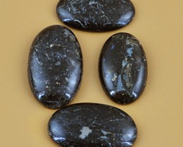 Genuine 193.00 Cts Oval shaped Black Galaxy Jasper Cab Lot