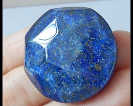 62Ct Faceted Lapis Lazuli,Quartz Intarsia Gemstone Cabochon