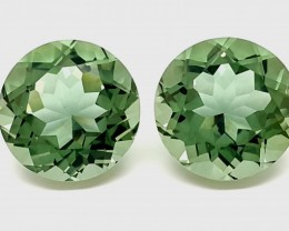 19.80 CT GREEN AMETHYST PRASIOLITE ROUND PAIR GEMSTONE HEATED 14MM 6