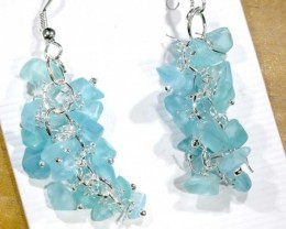49.95CTS APATITE EARRINGS NEON BLUE UNTREATED SG-2332