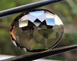9.40ct OVAL FACETED BRAZILIAN SMOKEY QUARTZ GEMSTONE CUT IN THE U.S MJ113