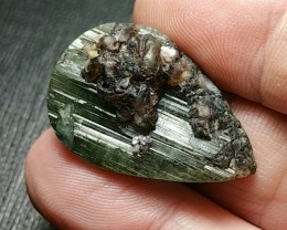 Tourmaline with epidote 19.5mm 29ct