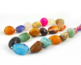 Genuine 393.50 Cts Untreated Multi Gemstones Beads Strand