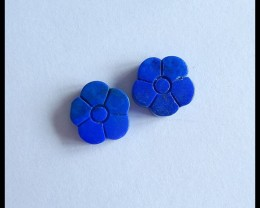 Natural Lapis Lazuli Carving Flower Cabochon Pairs,10x3mm,7ct(17050518)