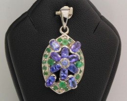 29.87ct Stamped 925 Silver Natural Emerald Tanzanite Pendant