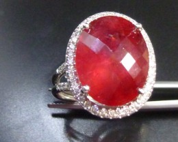 14 KT White Gold Diamond ring Set with Rubelite Tourmaline Total Of 12.21ct