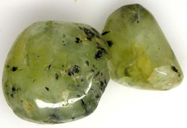 PREHNITE BEAD DRILLED 2 PCS 82 CTS  NP-1342