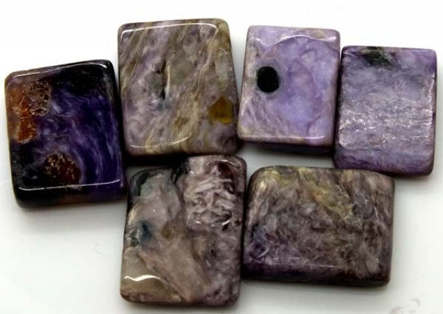 PURPLE CHAROITE 6 RECTANGLE STONES 77 CTS ADG-319