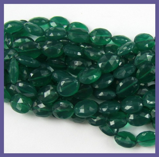 BEAUTIFULLY CUT AA QUALITY GREEN ONYX 5X7-6X8MM FACETED OVAL BEADS